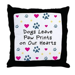 Dogs Leave Paw Prints Throw Pillow