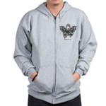 Diabetes Tribal Butterfly Zip Hoodie