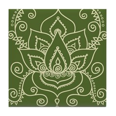 lotus olive green henna mehndi ceramic tile coaster