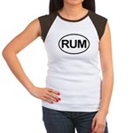 Rum Booze Alcohol Drink Oval Women's Cap Sleeve T-