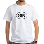GIN Alcohol Booze Drink Oval White T-Shirt