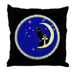 """Ankh"" Moon Kat Throw Pillow"