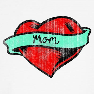 MOM HEART TATTOO Red and pink double heart charm from Bombay Duck.