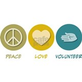 Peace Love Volunteer Decal