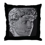 David with Michelangelo Quote Throw Pillow