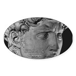 David with Michelangelo Quote Oval Sticker